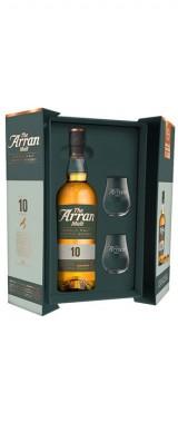 Whisky Arran 10 ans 46° Distillerie Isle Of Arran Ecosse en coffret 2 verres